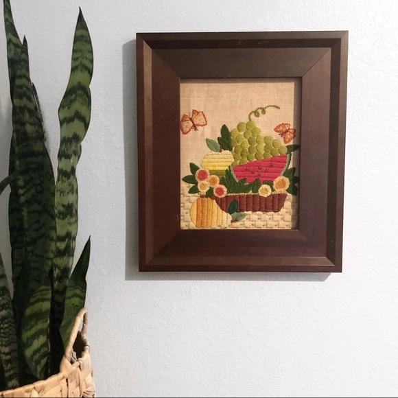Vintage crewel art embroidery fruit cottage core